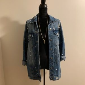 Retro Distressed Jean Jacket with Pearl Accents